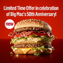 Limited Time Offer in celebration of Big Mac's 50th Anniversary! Big Mac BLT!